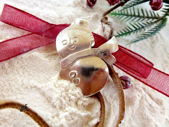 Snowman Sterling Silver Christmas ornament by GeorgiaCollection, €35.00