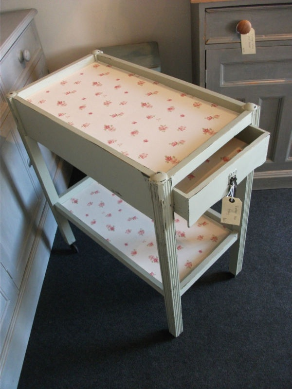 Painted Tea Trolley-like the wallpaper idea