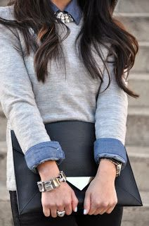 Classic grey jumper layered with demin