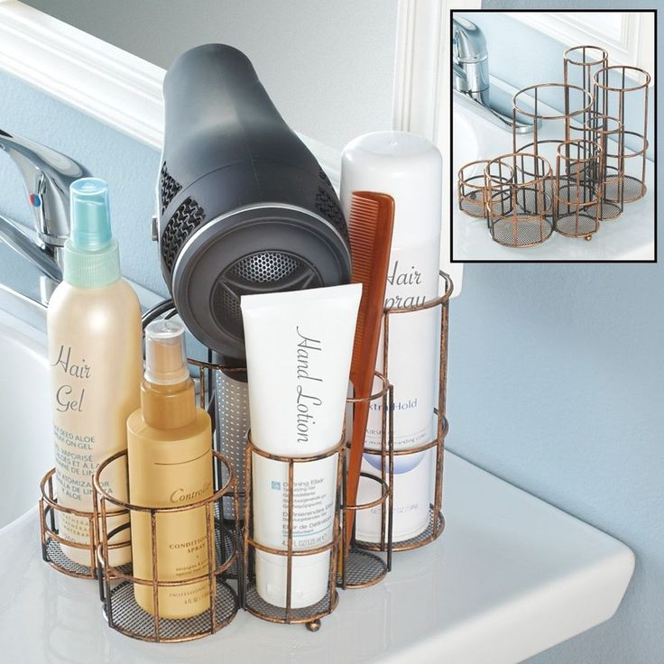 Bronze Counter-top Hair Dryers Styling Tools Brushes Cosmetics Organizer Rack #RackOrganizer #Countertop #CosmeticsOrganizer #Rack #Organizer #StylingTools #Dryers #Bronze #BrushOrganizer #Tabletop #Home #Bedroom