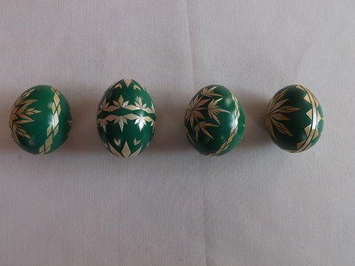 Kraslice zdobené slámou - zelené