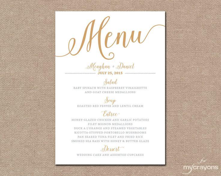 Gold Wedding Menu Card, Printable Wedding Menu // Bella Script Wedding, DIY…