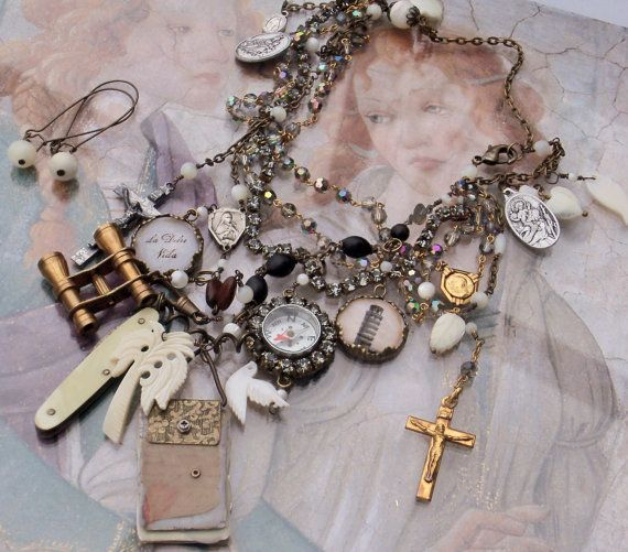 Off to See the World Antique Rosary Italian Traveling by angels9, $109.00