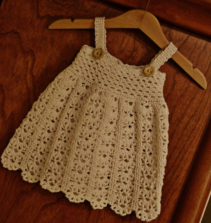 Vintage Crochet Baby Dress Pattern : Estelle and June Handmade Crocheted Baby Dress Vintage ...