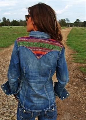 Navajo Denim Shirt- http://www.langstons.com/cowgirl-justice-womens-shirt-denim-serape-s118.html