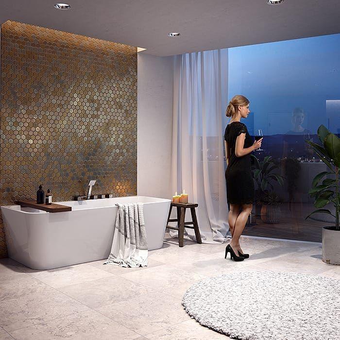Stemningsfullt bilde og et stk stilrent badekar fra Vikingbad Dybe rett er et helstøpt badekar med sluk og overløp du får bestilt det hos oss #rørkjøp