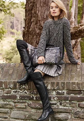 Simone over-the-knee boot   Cable, Cable sweater and Skirts