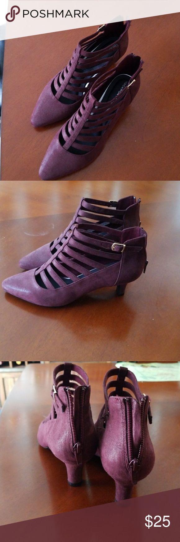 Rockport shoes never worn Suede pumps burgundy back zip Rockport Shoes Heels