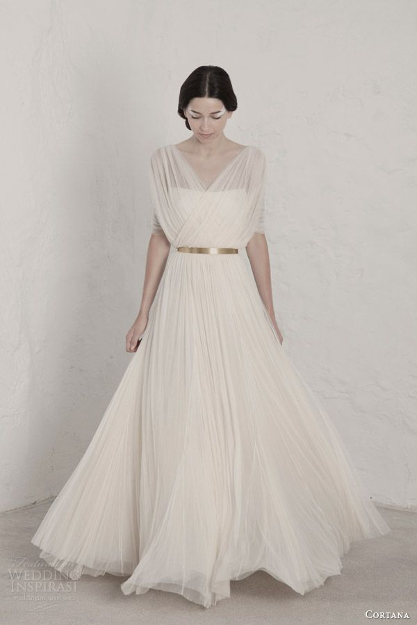 cortana 2015 bridal fortunata draped wedding dress surplice bodice gold belt