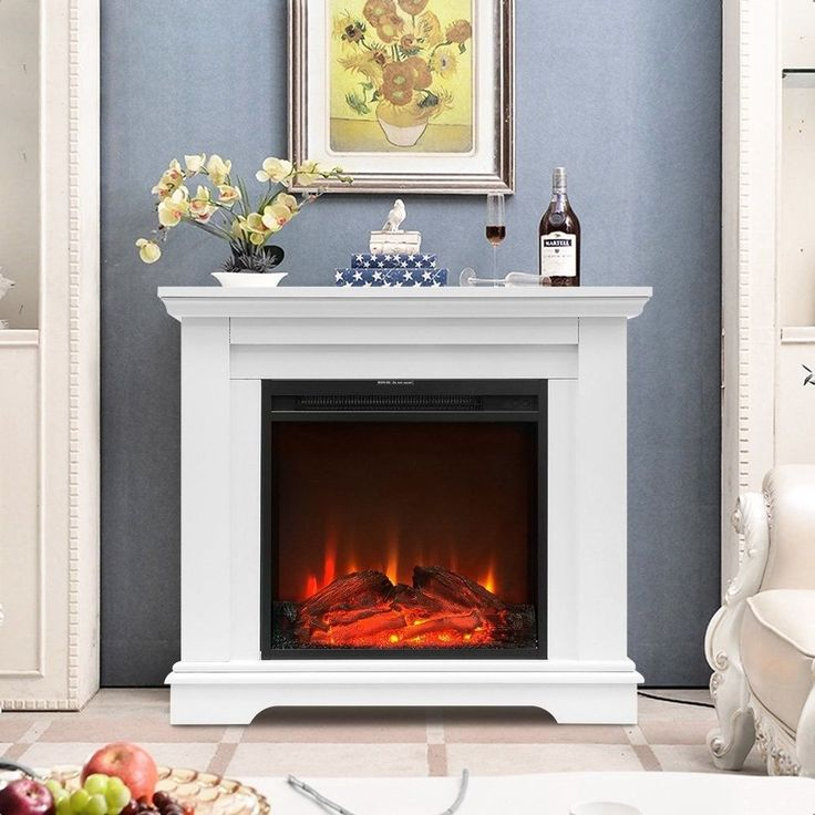 Electric Fireplace Suite Fire Glass Heater with Easy to Use Remote Control White    eBay