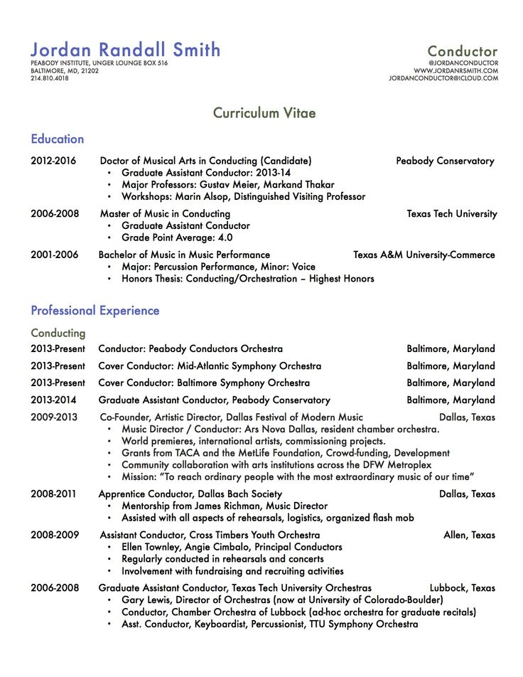 15 best Resume images on Pinterest Curriculum, Resume and Baltimore - resume music
