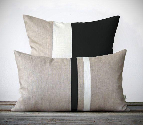 Modern Black and White Pillow Set - (12x20) Streep en (20x20) Color Block van JillianReneDecor - Minimal Decor van het Huis - Luxe Gift