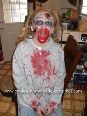 Homemade Zombie Costume: My daughter wanted a Zombie costume for Halloween and since this was the first year that she didn't want something cute I had to do something cool...