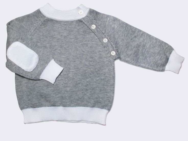 cotton sweater with patches, silver/white