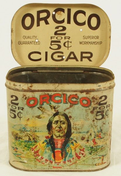 Orcico Cigar Tin with an American Indian.  Get 2 for 5 Cents
