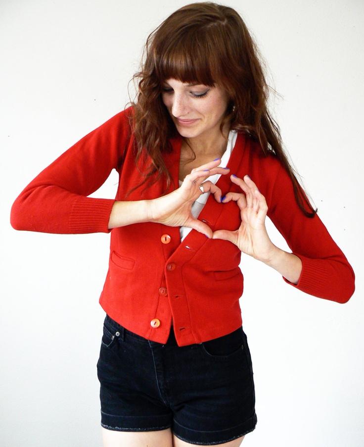 Vintage Valentine Red Cardigan Sweater. $28.00, via Etsy.