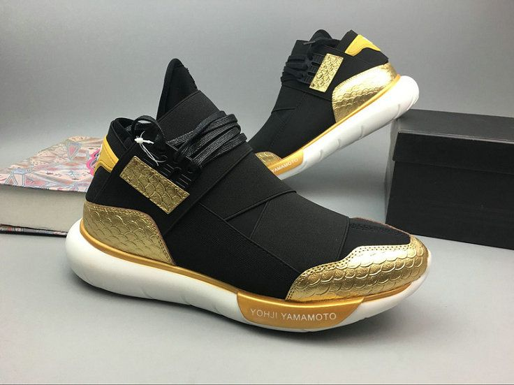a34044ebe8b NOUVEAU Adidas Y3 Y-3 QASA HIGH Core Black Noir Metallic Gold Youth Big  Boys Sneakers