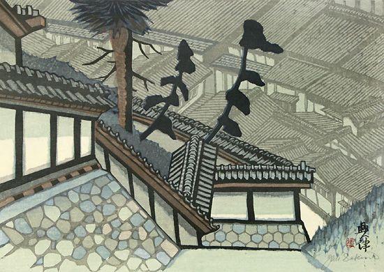関野準一郎 興津 清見寺より 東海道五十三次18 32 3cm 横 45 8 япония