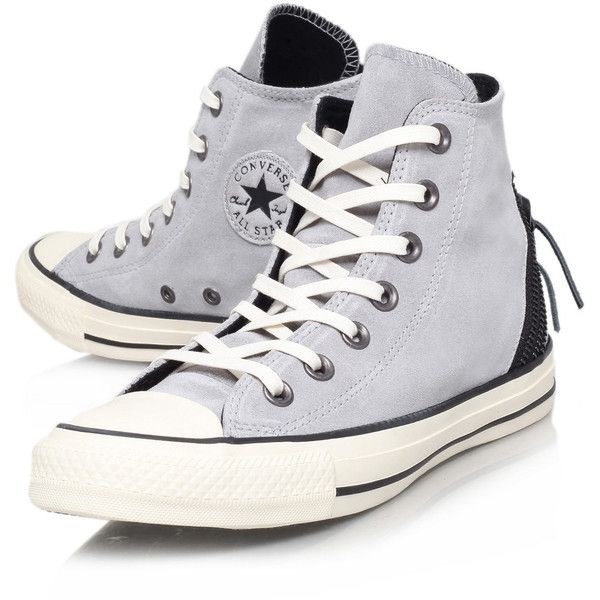 Converse Grey Tri Zip Chuck Taylor Hi-Top Trainers (€58) ❤ liked on Polyvore featuring shoes, sneakers, converse, 18. converse., trainers, converse high tops, converse trainers, grey high top sneakers, hi low tops and grey shoes