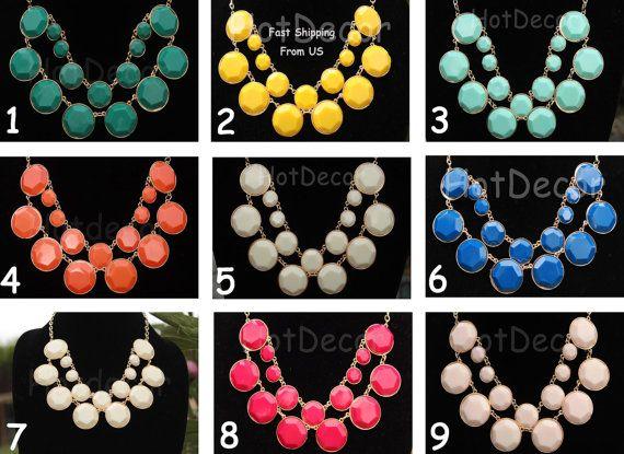 In color #3 Aqua! Statement necklace Bubble necklace Bib necklace White by HotDecor, $13.99