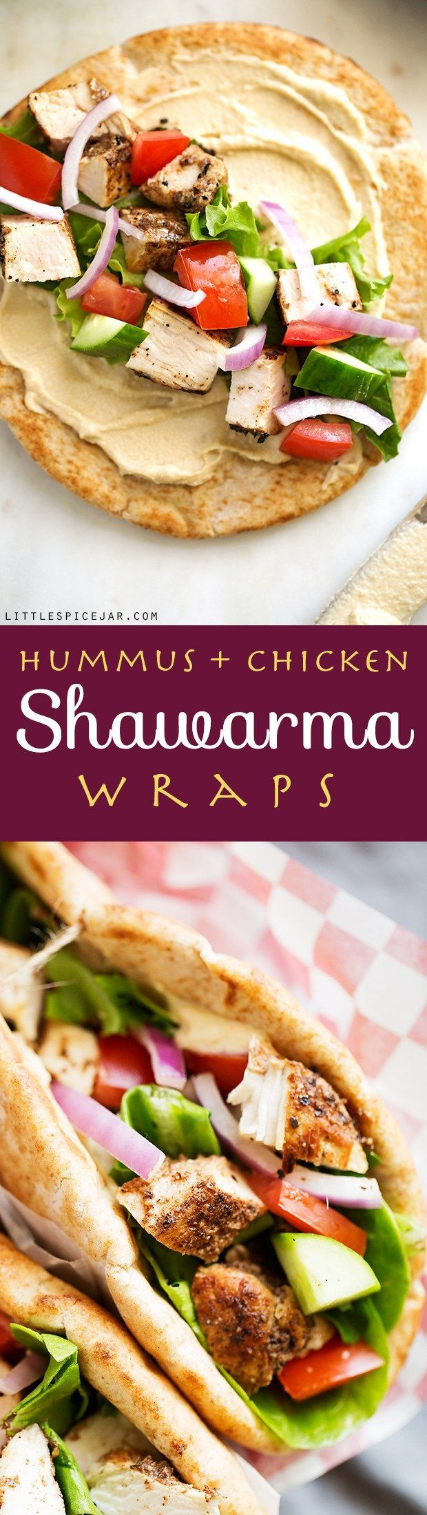Hummus Chicken Shawarma Wraps - made with homemade shawarma seasoning and it's…