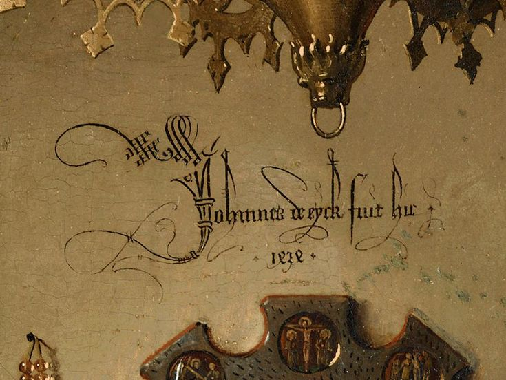 Jan Van Eyck signature in the Arnolfini Portrait 1434