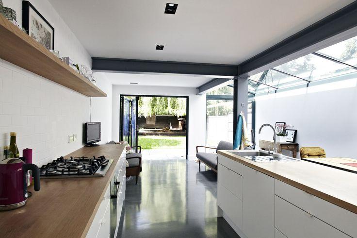 Edward Bennett | Architect Side return extension, exposed steels, lovely skylight.