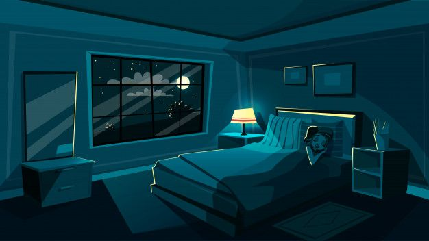 Download Cute Young Woman Sleeping In Bedroom At Night Cartoon Interior For Free Bedroom Illustration House Cartoon Night Sky Stars Bedroom night time background