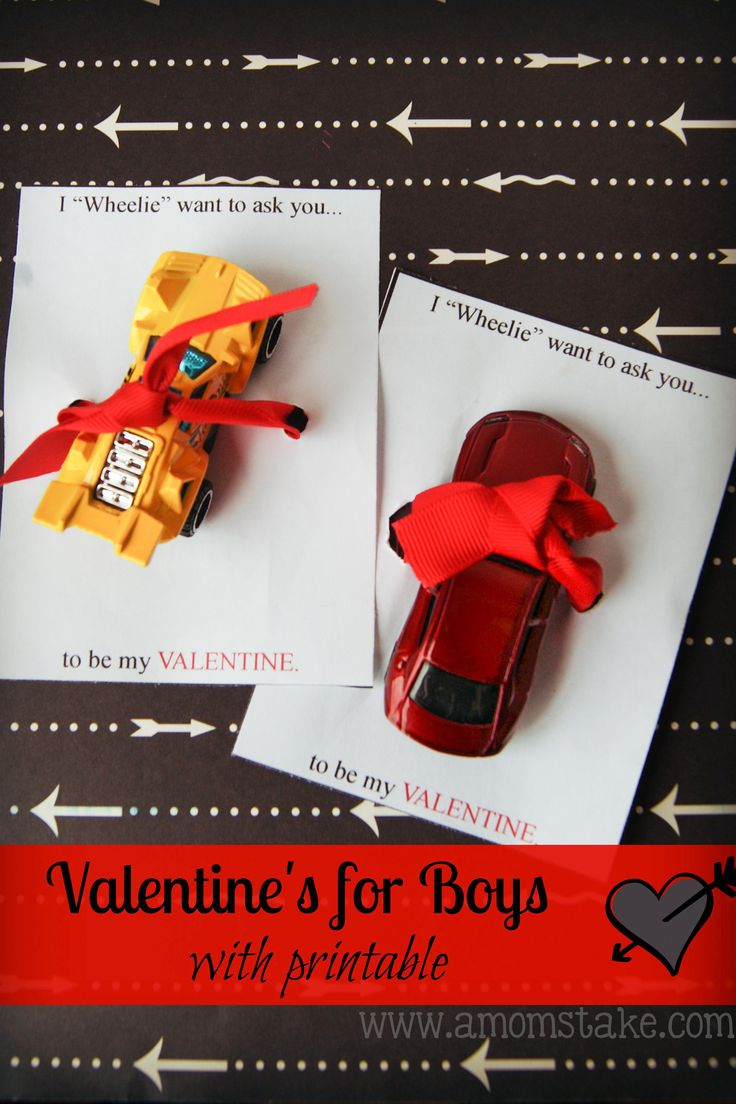 "I ""Wheelie"" – Valentine for Boys using Hot Wheels! #ValentinesDay #Homemade #DIY"
