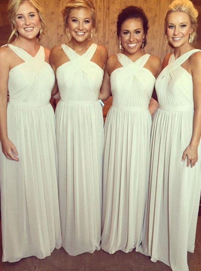 Stylish V-neck Floor-Length Light Grey Chiffon Bridesmaid Dress Ruched