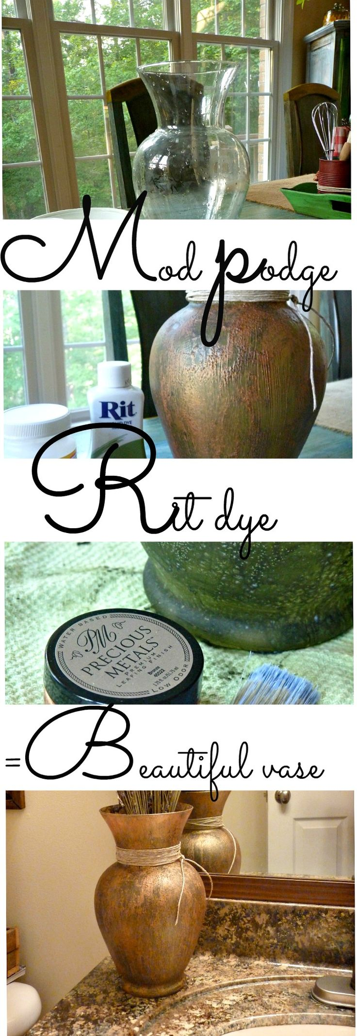 painting on glass with mod podge, and rit dye to create a beautiful vase