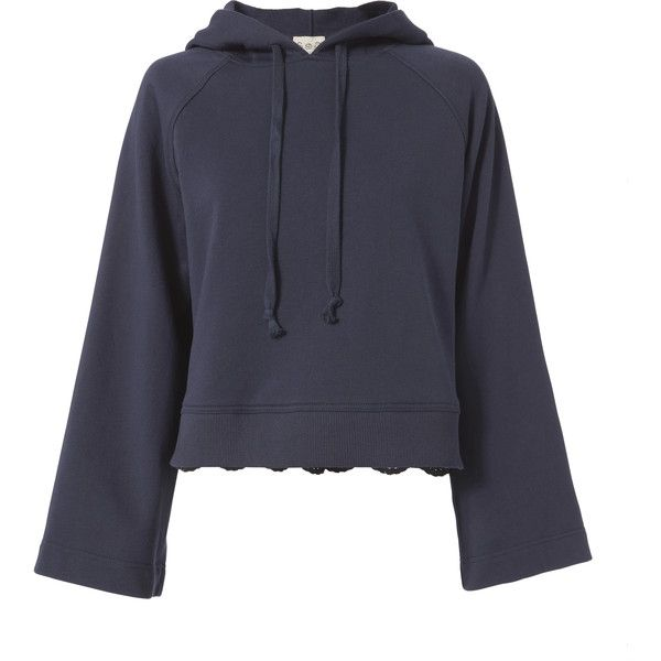 Eyelet Back Navy Hoodie ($325) ❤ liked on Polyvore featuring tops, hoodies, navy, cropped hoodie, cropped hoodies, long hooded sweatshirt, sweatshirt hoodies and pullover hoodies
