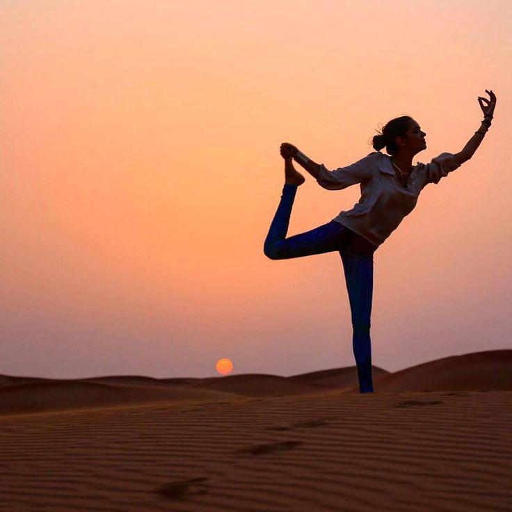 Yoga in the desert #amazing #dubai #sunset