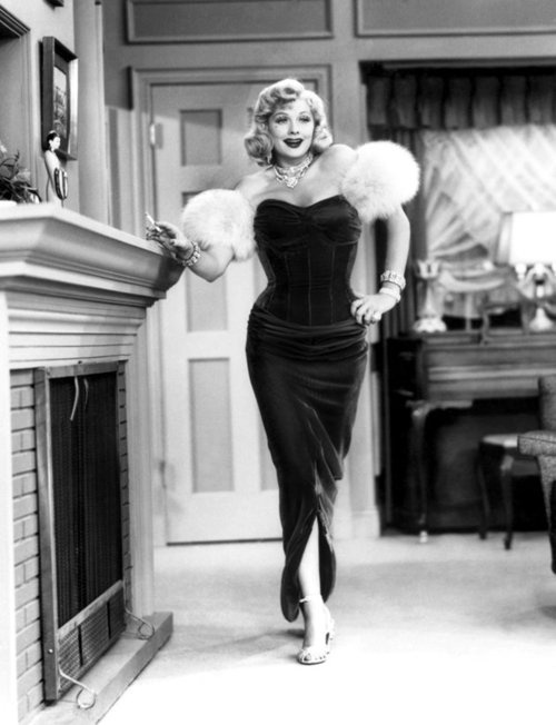 "Lucille Ball ""I Love Lucy"".  Remember she was trying to show Ricky she could be sexy after he flirts with a cute chick."