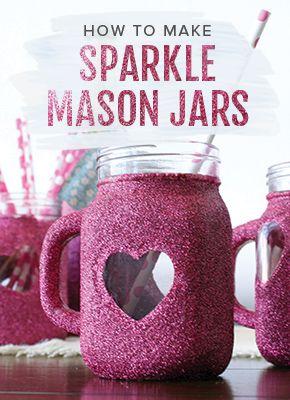 How to Make Glitter Mason Jar Heart Mugs. Cute wedding DIY or Mother's Day gift idea. Shop the video >