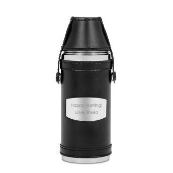 Engraved Black Hunting Flask with 2 Shot Cups | Things Remembered