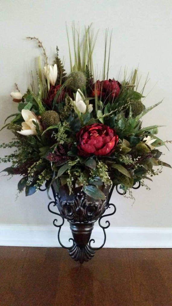 Elegant Traditional Wall Sconce Fall Floral Arrangement Silk