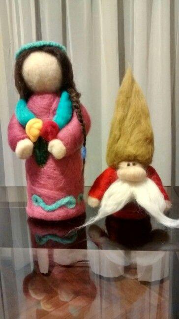Muñeca y duende en fieltro