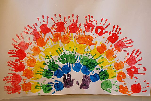 Handprint Rainbow--so cute   this would be a fun class project- make a great big…