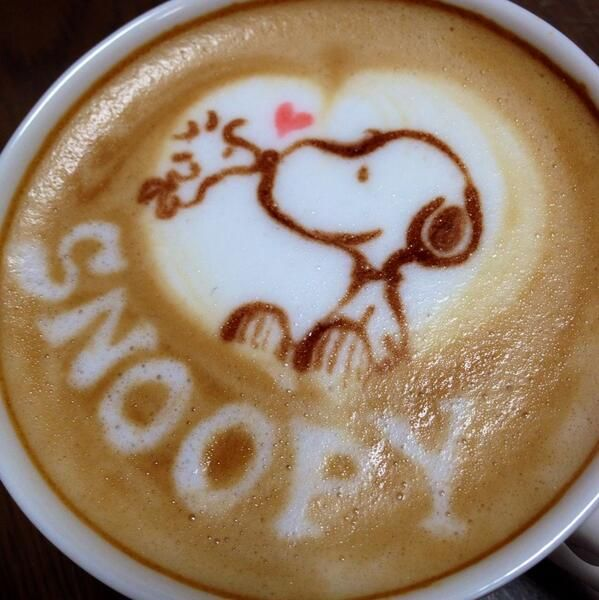 Snoopy and Woodstock latte art