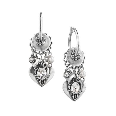 E2658 - Drop earrings with semi-precious beads, white shell pearls and Swarovski charms