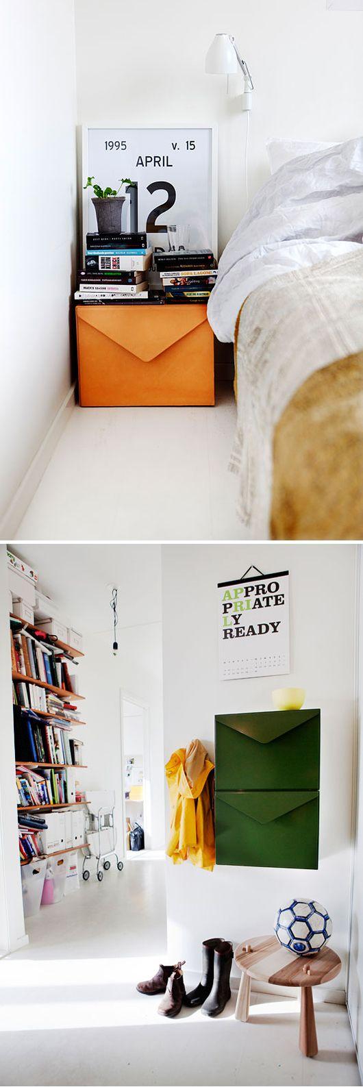 Leather envelope cabinets. By Swedish furniture designer Emma Olbers.
