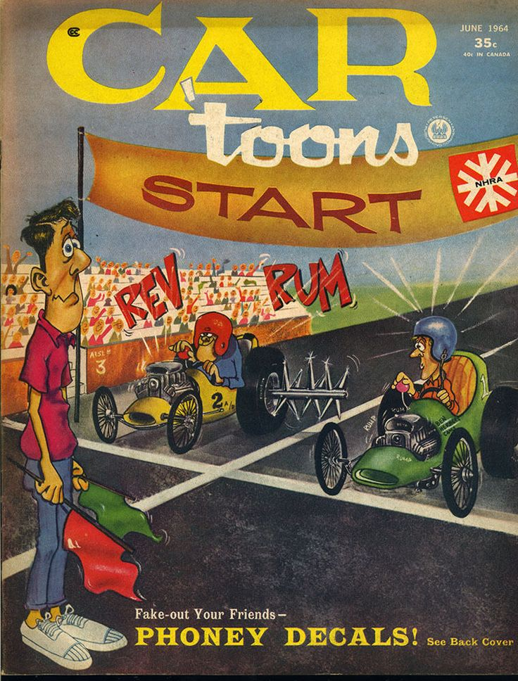 car toons CARTOONS magazine vtg June 1964 hot rod drag race NHRA comic decal
