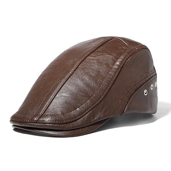 Mens Man-made Leather Solid Beret Hat Casual Autumn Warm Golf Forward Caps  Adjustable - Banggood Mobile cf124cc8c058
