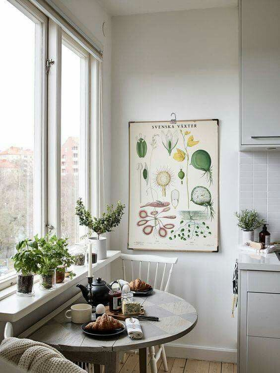 Great use of a vintage style botanical print in this kitchen and dining room space, paired with other potted greenery.