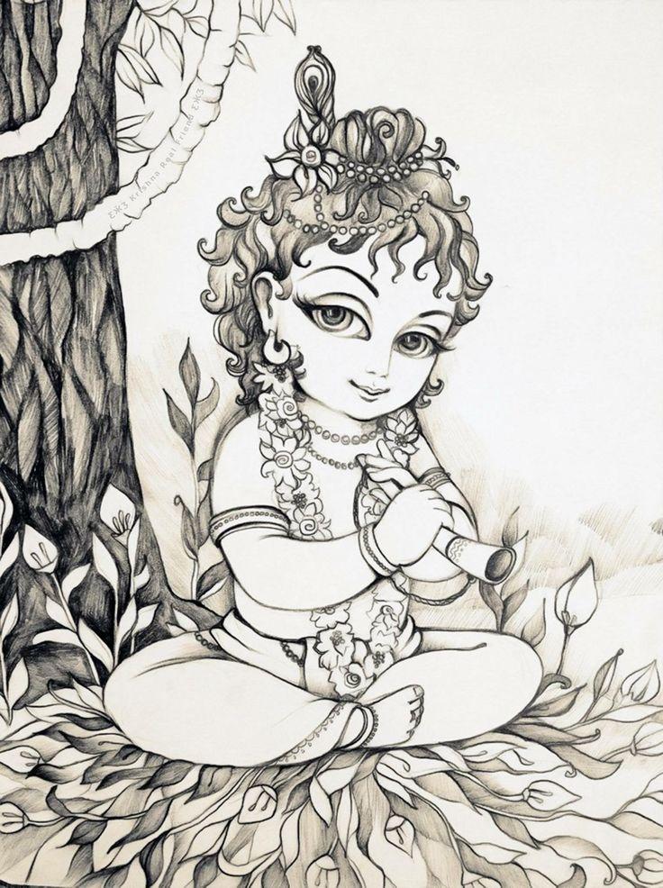 baby krishna krishna radha hindu art indian gods canvas ideas amazing things sketch laddu gopal image