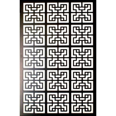 Acurio Latticeworks 1/4 in. x 32 in. x 4 ft. Black Chinese style 2 Vinyl Decor Panel 3248PVCBK-CH2