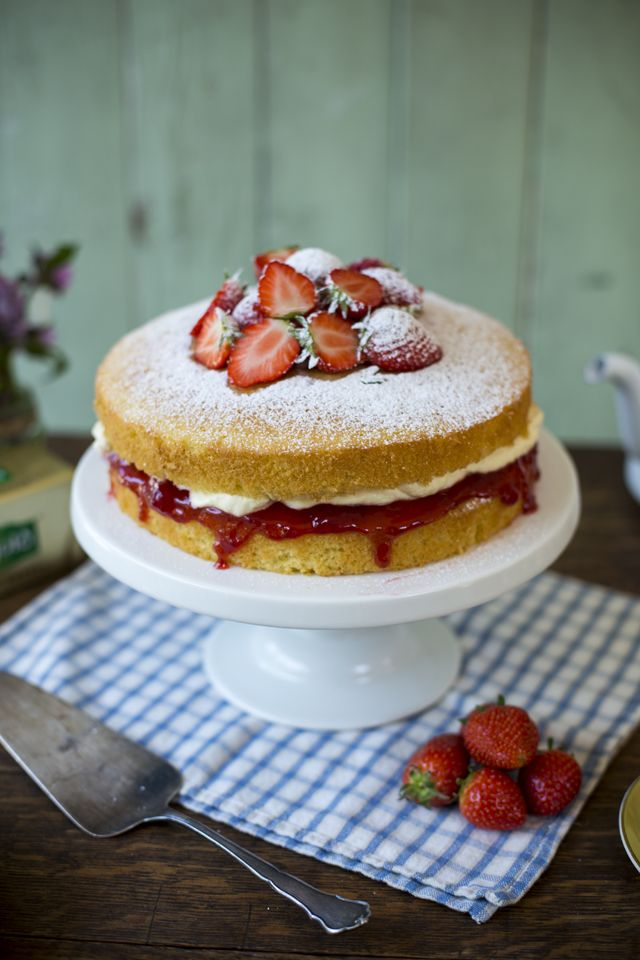 The classic Victoria Sandwich - summer in a cake.  I use strawberry jam and real whipped cream and of course castor sugar on the top.  If you want a good recipe go to - www.donalskehan.com/recipes/victoria sandwich.