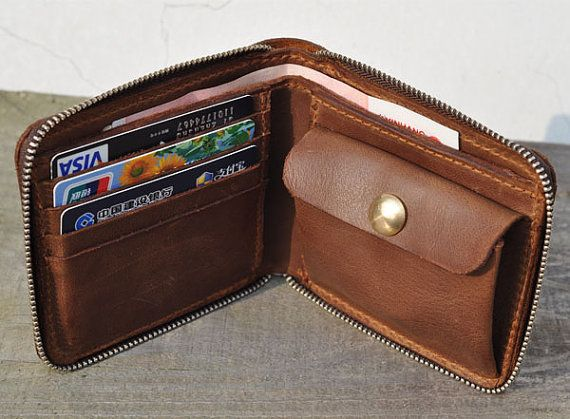 Genuine Leather wallet with MXS large zipper-Men wallet-bifold wallet-Brown vintage Leather purse $53.40
