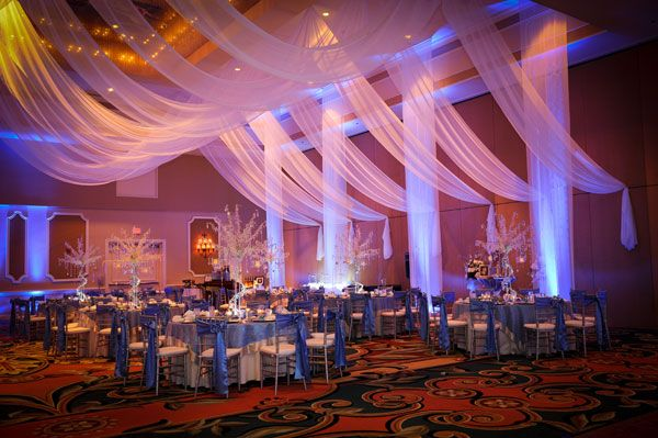 Wedding Reception Decor - Fabric Draping Wedding Reception | Wedding Planning, Ideas & Etiquette | see more: http://www.venuesfor21stbirthdayparty.com/occasions/
